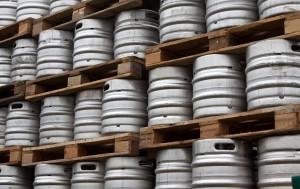 Beer kegs in rows outdoor
